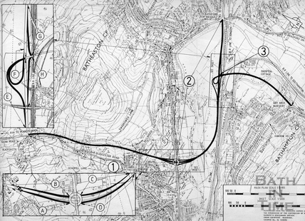 The approved route for the A46 / A36 link road and Batheaston Bypass 1990