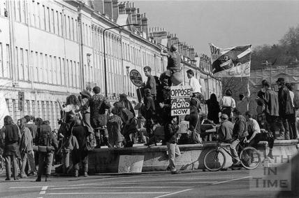 Protesters on the fountain at Laura Place 28 March 1994