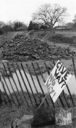 Give Way - No Way - A discarded protestor's placard 11 April 1994