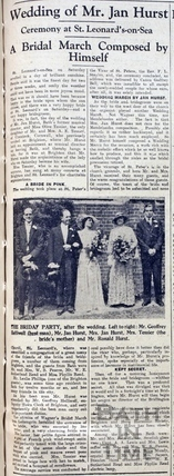 Wedding of Mr Jan Hurst June 11 1934