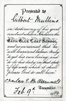 good conduct certificate bluecoat school feb 9th 1914 by 21087 at