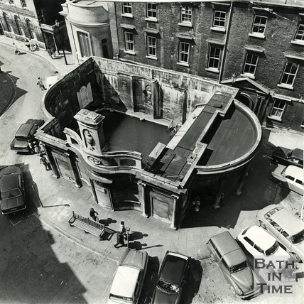 Birds eye view of the Cross Bath, July 1971