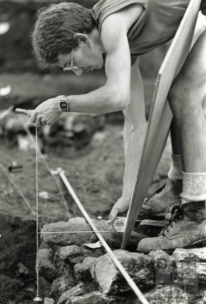 Marek Lewcun records the site during an archaeological dig at the Beau Street Baths 10 August 1989