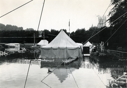 The Bath Cricket Festival is a wash out as the Recreation Ground sits under water. July 1968