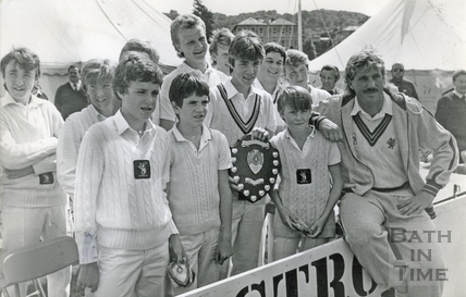 Ian Botham with members of Temple Cloud cricket team, June 1985