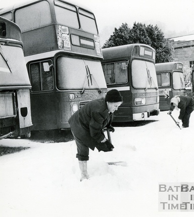 Clearing the snow at the bus station, 18 Jan 1982