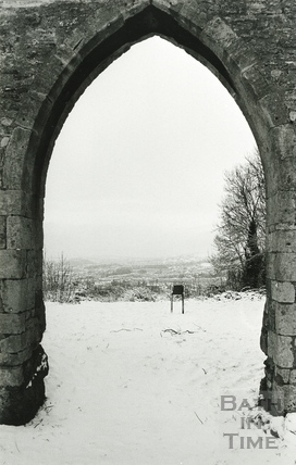 View through Sham Castle in the snow 8 Dec 1990