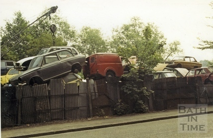 Scrap cars, Lower Bristol Road, 9 July 1987