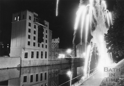 Fireworks on the opposite riverbank to Waterside House 3 Oct 1990