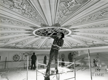 Restoring the ceiling, Theatre Royal 1982