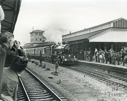 Steam train engine no 6000 arrives at Bath Spa station c.1960s
