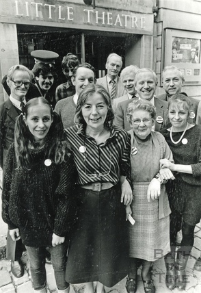 Staff outside the Little Theatre, St Michael's Place 28 Jan 1986