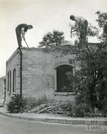 Demolishing the Newton Turnpike building, c.1964