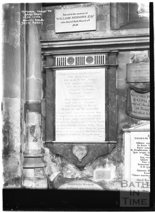 Memorial Tablet to Beau Nash 1674 - 1762, south aisle, Abbey Interior c.1937