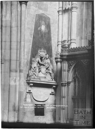 Monument to Lady Miller of Batheaston Villa on north side of chancel, Abbey Interior c.1937