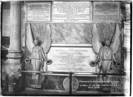 Monument to William Bingham, Senator USA on wall at the west end of south aisle, Abbey Interior c.1937