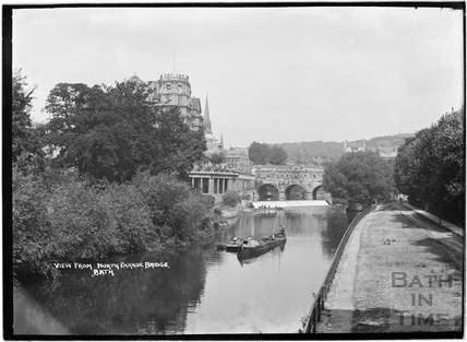 View from North Parade Bridge of the Empire Hotel and Pulteney Bridge c.1920