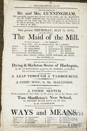 The Maid of the Mill Playbill, May 9 1805