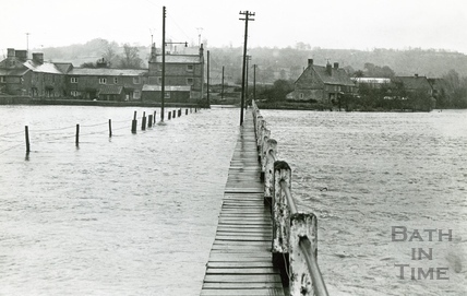 The flooded road at Reybridge, Wiltshire c.1968