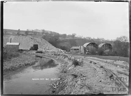Constructing the Camerton to Limpley Stoke Railway, Midford c.1907