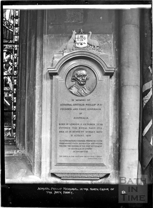 Memorial tablet for Admiral Phillip, Bath Abbey c.1912