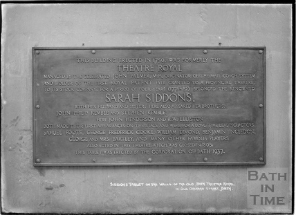 Tablet commemorating Sarah Siddons, Old Orchard Street, c.1930s