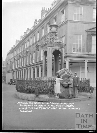 The Mineral Fountain, Stall Street at the junction with Bath Street, Aug 1936