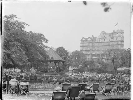 A few empty deck chairs around the bandstand, Parade Gardens c.1930s