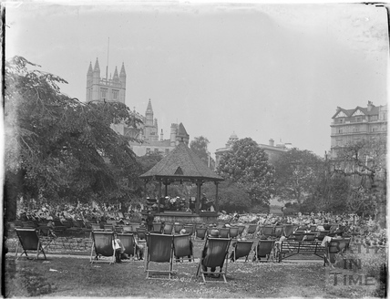 Tea in the sun around the bandstand in Parade Gardens c.1930s