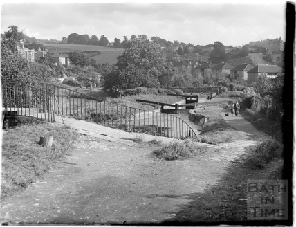 View looking towards Widcombe of the locks on the Kennet and Avon Canal, Bath July 1954