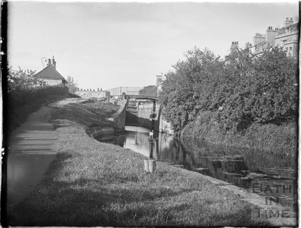 The Kennet and Avon Canal and lock with Sydney Buildings, Bath July 1954