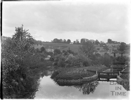 View looking towards Widcombe of the locks and pound on the Kennet and Avon Canal, Bath July 1954