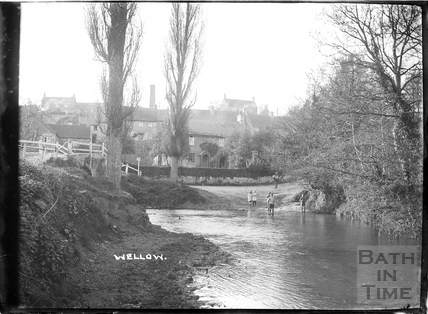 Children playing in the ford at Wellow c.1930s