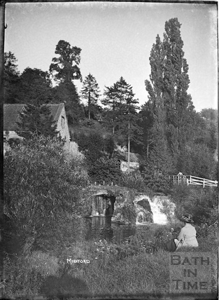 The weir and sluice at Midford Mill, c.1922