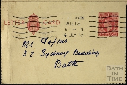 Addressed envelope to GL Dafnis, 32 Sydney Buildings10 July 1952.1952