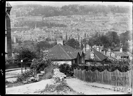 View from the Tyniny (Tyning) towards Bath Spa Station, c.1938