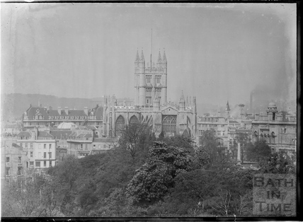 View of Bath Abbey and Grand Pump Room Hotel from Sydney Buildings, c.1950
