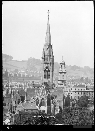 St Johns Roman Catholic Church and St James Church spires, 6 June 1937