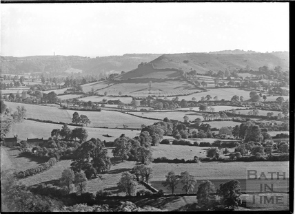 Cam Long Down near Dursley, with Tyndale's folly on the horizon., c.1950