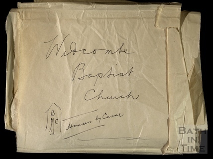 Loose paper inside box showing rough plan of Widcombe Baptist Church c.1910