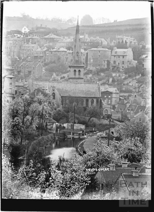 View of Widcombe and St. Matthew's Church and Kennet and Avon Canal, Bath c.1920
