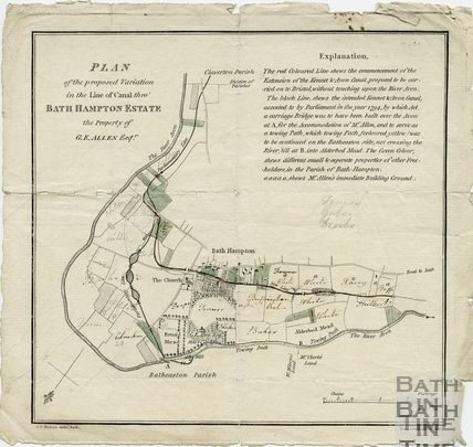 Plan of the Proposed Variation in the Line of Canal thro Bathampton Estate 1794