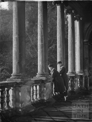 The twins on the Palladian Bridge, Prior Park c.1924