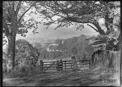 Gate to view from Monument Fields, c.1920