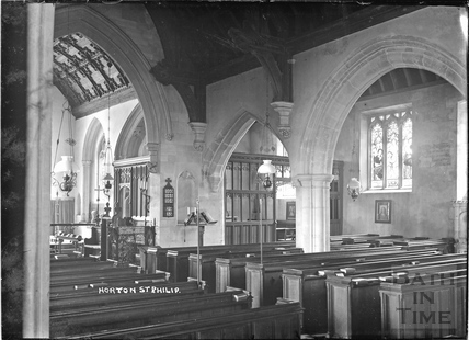 Inside the church of St Philip and St James, Norton St Philip c.1932