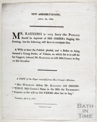 Apology note from Mr Rauzzini to the public for cancelling a performance at the New Assembly Rooms April 10 1799