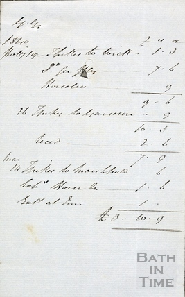 Bill from The Greyhound Hotel, High Street April 4th 1840 verso