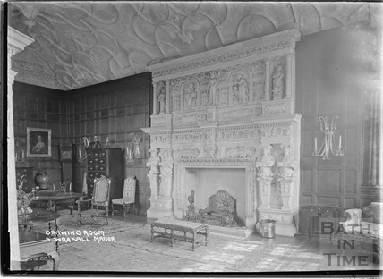 The fireplace and drawing room at South Wraxall Manor 1935