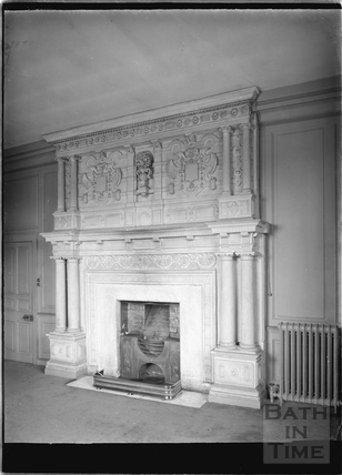 A fireplace at South Wraxall Manor 1935