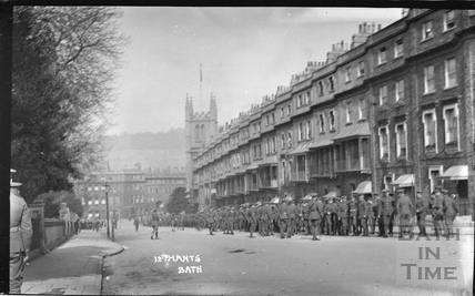 Troops at Raby Place, Bathwick Hill c.April 1915